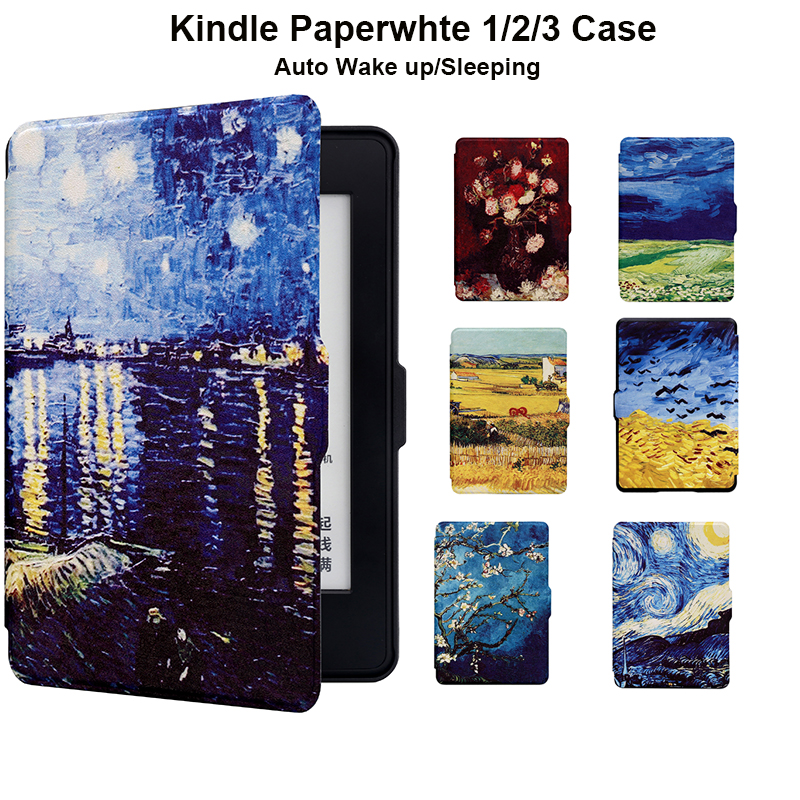 Kindle Paperwhite 1 2 3 Leather Cover Van Gogh Desgin Ultra Slim PU Sleeve Case With Auto Wake Up/Sleep 6 Inch Screen Protector