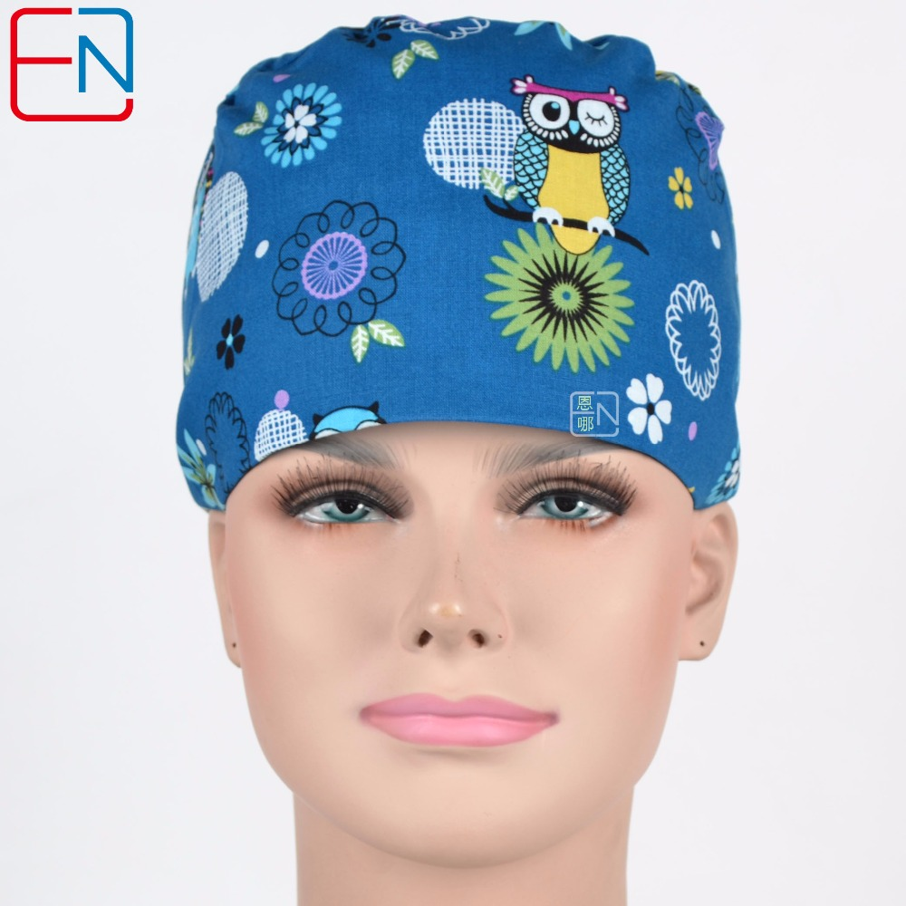 Hennar Women Surgical Caps Masks Cotton Dark Blue Print Scrub Caps Adjustable Hospital Clinic Doctors Nurse Work Hats Masks