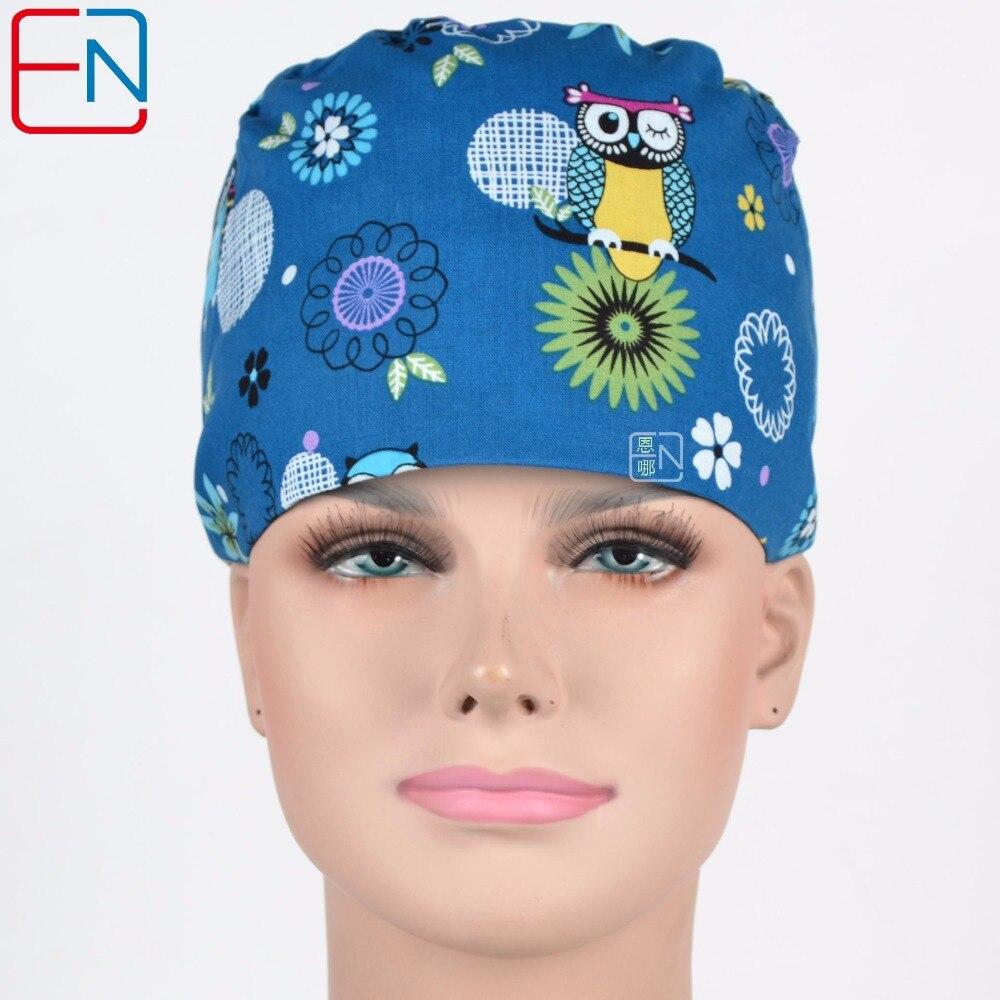 Hennar Women Surgical Caps Masks Cotton Dark Blue Print Scrub Caps Adjustable Hospital Clinic Doctors Nurse Work Hats Masks