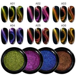 Image 2 - MEET ACROSS Cat Eye Magnet Chameleon Nail Glitter Powder Magnetic Mirror Effect Pigment Nail Art Decorations Polish Gel Accessoy