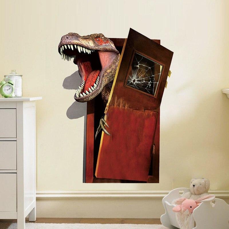 Bedroom Door Handle Broken Youth Bedroom Sets For Boys Bedroom Wall Decals B Q Bedroom Furniture: Cartoon 3d Broken Door Dinosaur Living Room Boys Kids