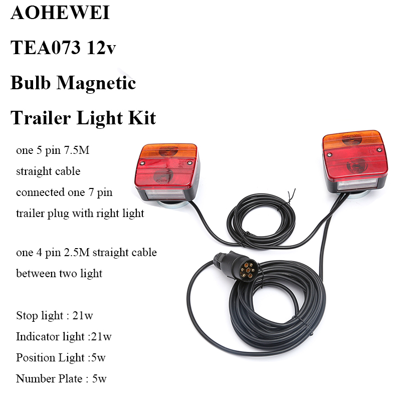AOHEWEI 12V Bulb Magnetic Trailer Light Kit rear position stop brake turn indicator tail light for trailer truck towing
