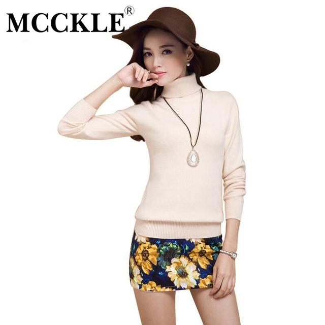 MCCKLE High Quality Pure Cashmere Sweaters Pullovers Turtleneck Sweater Solid Soft Light Turtle Collar Women's Basic Knitwear