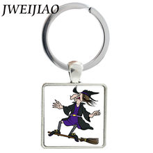 JWEIJIAO Cartoon Witch Wizard Art Picture Glass Cabochon Keychains Square Metal Charms Pendant Halloween Jewelry Gift J600(China)
