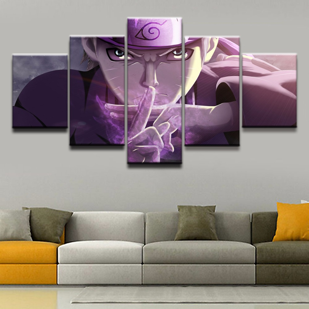 Wall Art Framework 5 Panel Cartoon Naruto Uzumaki Modular Pictures For Living Kids Room Decor Animation Poster Canvas Painting