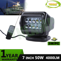YNROAD 50W led remote controller wireless search light hunting light spot beam light 7inch for fishing boat marine