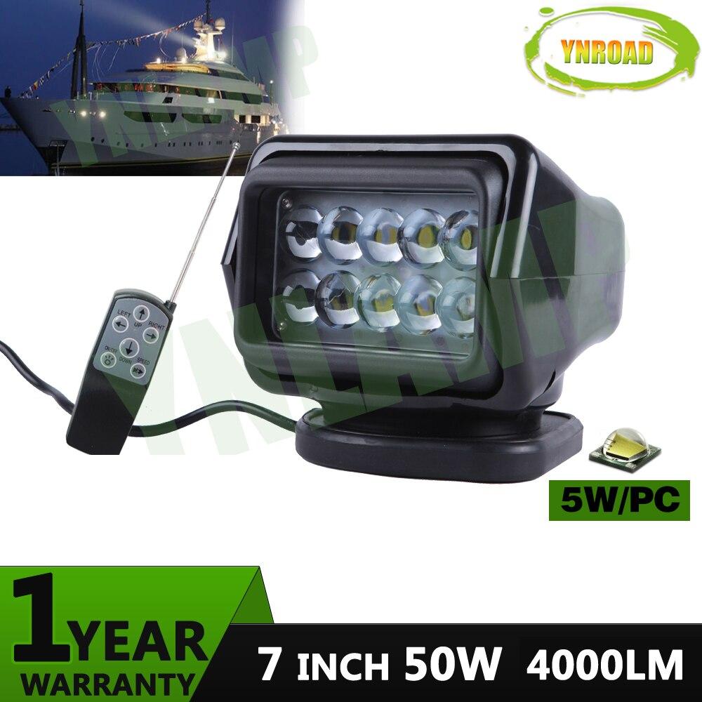YNROAD 50W vedl dálkový ovladač bezdrátové vyhledávání světlo lov světla světla bodové světlo světlo 7 palců pro rybářské lodi námořní
