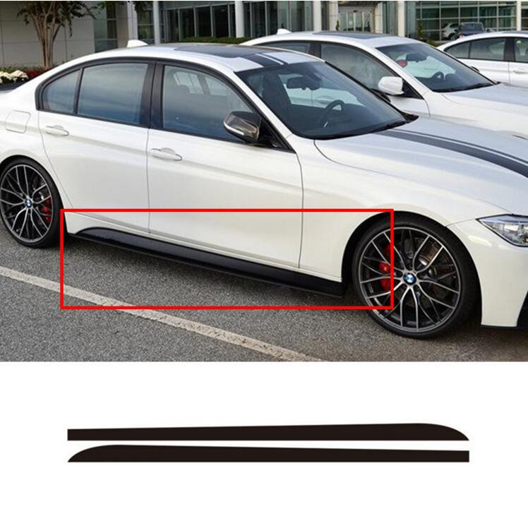 2Pcs Carbon Fiber Car <font><b>Sticker</b></font> Side Skirt Sill Side Decal for <font><b>BMW</b></font> E90 E92 E39 F10 F30 <font><b>F31</b></font> PVC <font><b>Sticker</b></font> image