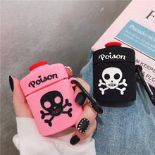 For AirPods 2 Case Cute 3D Cartoon Poison Skull Bone Earphone Apple Airpod Soft Silicone Protect Cover Funda Pink Black