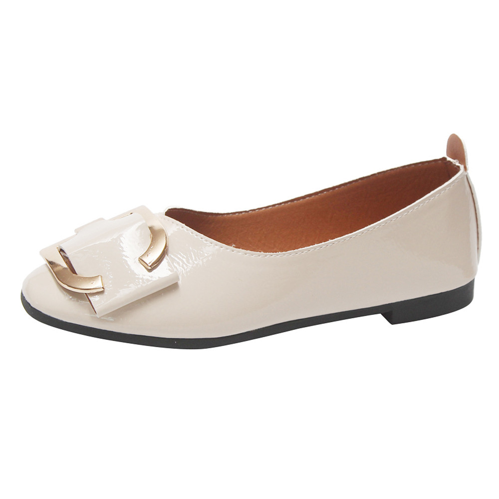 2018 Spring New Ladies Flat Shoes Shallow Square Buckle Slip On Low Heel Shoes Round Toe Single Shoes 2018 lady sapato feminino buckle straps embellished women pu leather flat heel shoes korean fashion new 2017 ladies slip on designer flats round toe