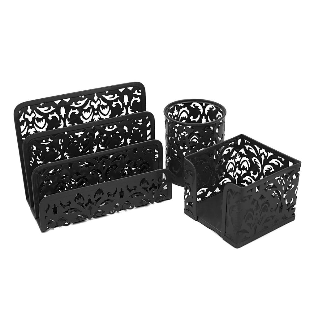 3pc office desk tidy organiser set storage box rangement. Black Bedroom Furniture Sets. Home Design Ideas