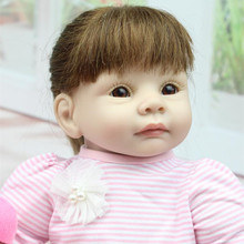 "Reborn doll silicone 22"" 55cm Realistic Girl Silicone Vinyl Reborn Baby Doll cute gir Lifelike Handmade Baby Alive Doll"