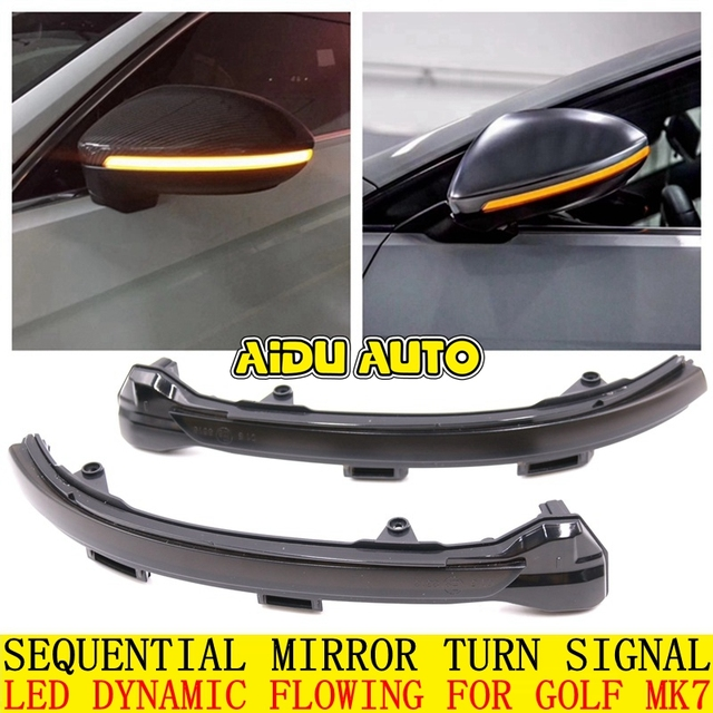 LED Flowing Rear View Dynamic Sequential MIRROR Water Turn Signal Light For VW Golf 7 MK7 VII Passat B8