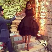 Лидер продаж черные коктейльные платья пикантные спинки Chic короткие вечернее платье аппликация Арабский праздничная одежда Праздничное п