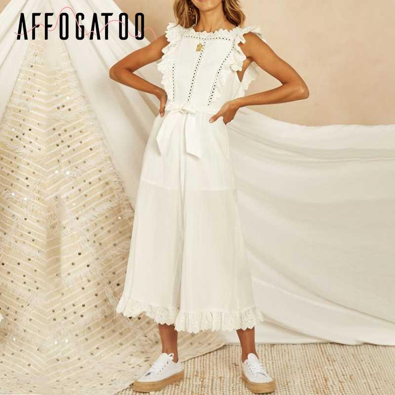 Afogaboo повседневные хлопковые льняные Белые Комбинезоны женские элегантные длинные Комбинезоны с вышивкой летние открытые без спинки