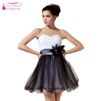 Kontrast Renk Beyaz Ve Siyah Tül A Hattı Kısa Mini Ucuz Mezuniyet Elbiseleri Hızlı Kargo