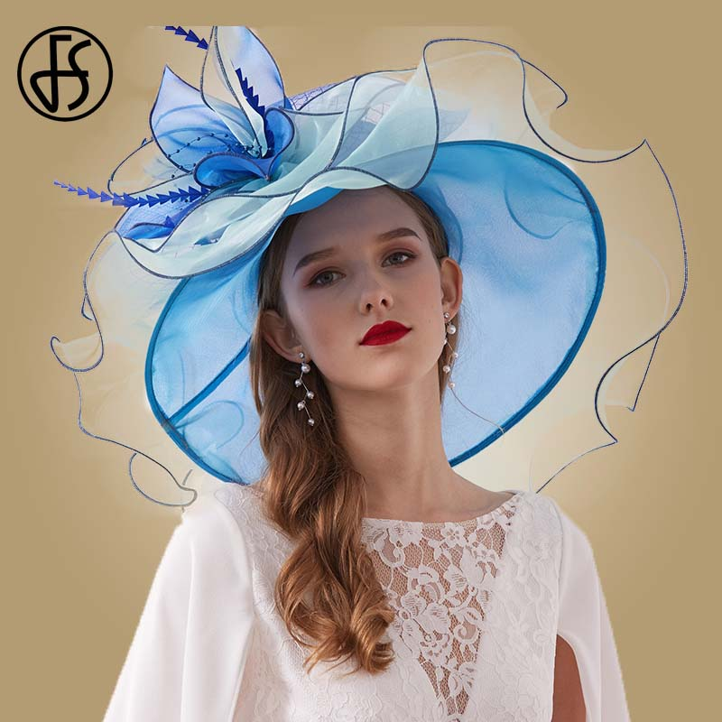 07af6a03 FS Elegant Hats For Wedding Women Black Ladies Church Hat Fedoras Big Brim  Flower Feather Blue Pink Party Kentucky Derby Hat-in Women's Fedoras from  Apparel ...
