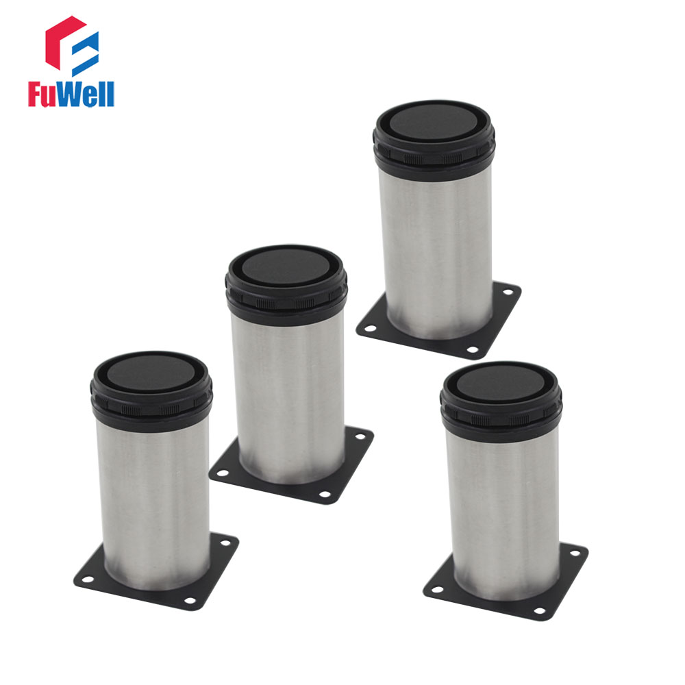 4pcs 200mm Height Adjustable Furniture Legs Silver Tone Stainless Steel Table Bed Sofa Leveling Foot Cabinet Furniture Foot bqlzr 80x85mm round silver black adjustable stainless steel plastic furniture legs sofa bed cupboard cabinet table bench feet