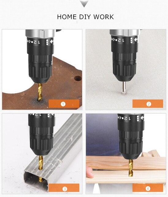 12V 16.8V 25V Battery electric Drill cordless drill driver wood work 28-45N/M electric screwdriver gun Home diy power tool sets 4
