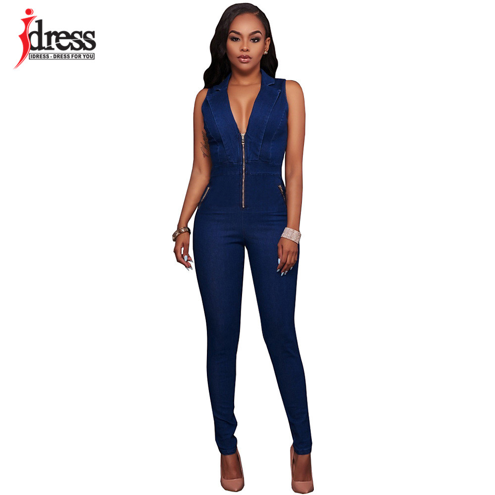 IDress Women Jeans Jumpsuit Denim Long Pants Sexy Deep V Neck Slim Overalls Jumpsuit Girl Sleeveless Club Wear Bodysuit Romper (5)