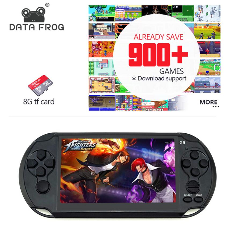 "Data Frog Handheld Game Per GBA Portable Games Console Built-in 3000 giochi classici MP5 Child Game Console con 5.0 ""Screen 8GB"