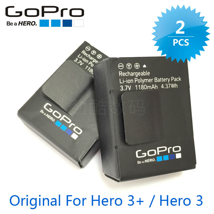 2pcs GoPro Battery for gopro hero 3 3+ battery go pro bateria AHDBT-301 AHDBT-302 rechargeable batteries original new электроника star gopro ahdbt 301 302 2 usb gopro hero3 3 zjp124a