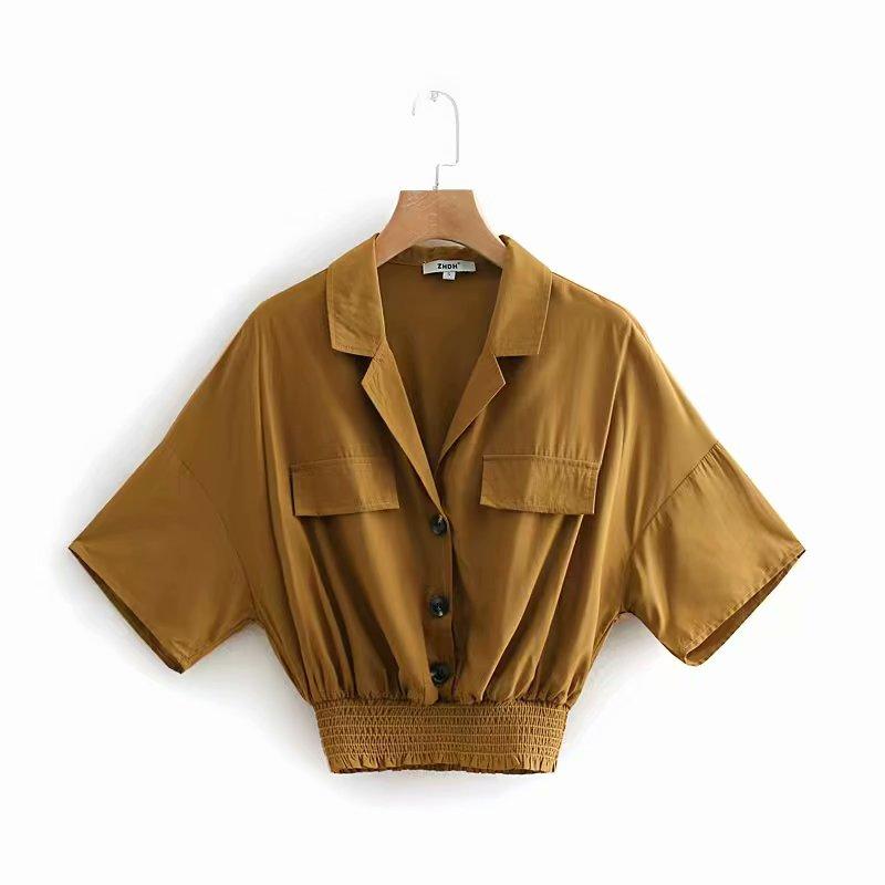 2019 women fashion safari style turn down collar casual business   blouse     shirts   women hem elastic blusas chic chemise tops