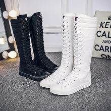 76774bed703 2018 new women fashion High-top zipper and lace boots Spring Autumn  Long-barreled casual flats canvas boots big size 34-43 QA-32