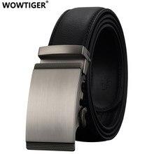WOWTIGER czarny 35mm skóry wołowej skórzany pas dla mężczyzn wysokiej jakości mężczyzna marki Ratchet automatyczne luksusowe paski Cinturones Hombre