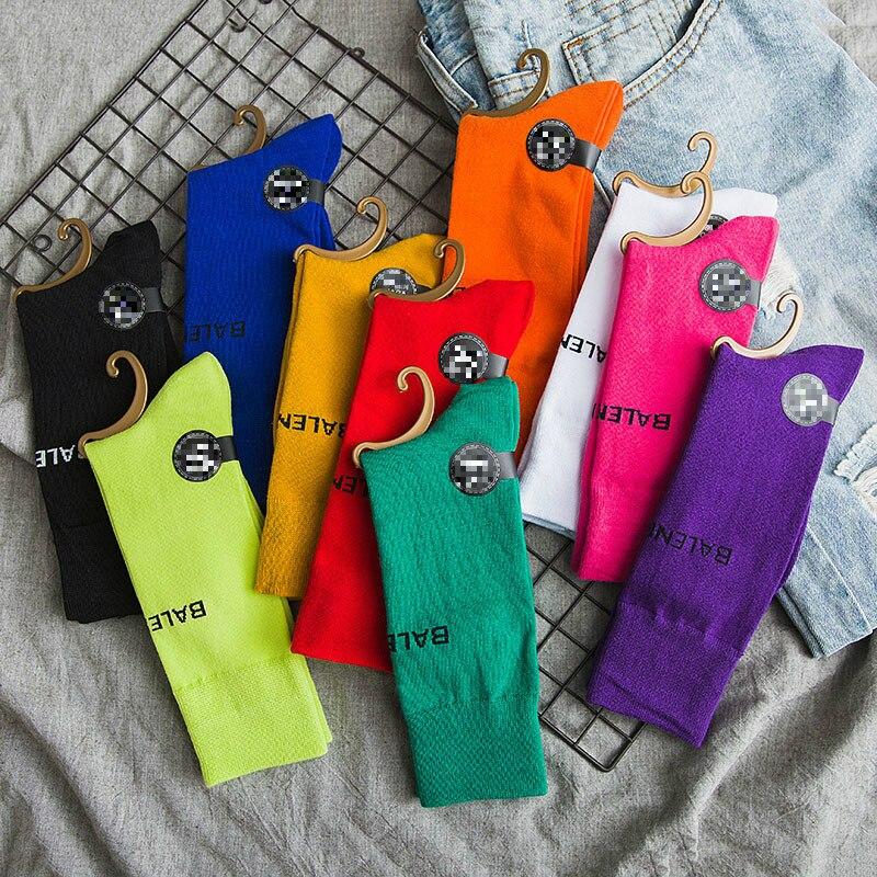 New Summer Letter Patterned Women's   Socks   Skateboard Harajuku Pile Long   Socks   Athletic Fashion Bright Colors Happy Cotton   Socks