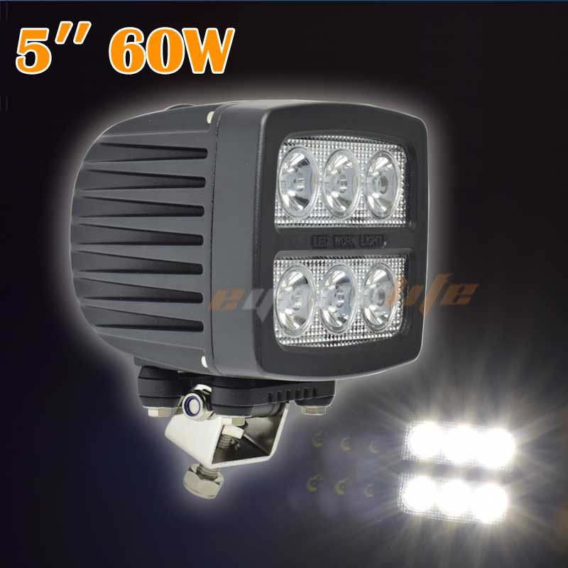 Площадь Eyourlife 60Вт 5-дюймовых LED пятно света 4WD внедорожник ATV внедорожник грузовик Водонепроницаемый