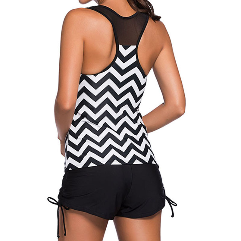 200a31c23d Swimwear Women Plus Size Vintage Two Piece Swimsuit Tankini Geometric Print  Mesh Patchwork Tankini With Short Sport Bathing Suit-in Two-Piece Suits  from ...