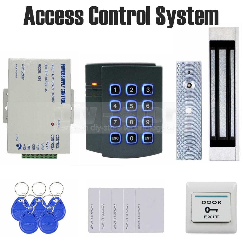 DIYSECUR 125KHz RFID Password Keypad Access Control System Kit + 180kg Magnetic Door Lock 2501 diysecur 125khz rfid touch reader password keypad 180kg magnetic lock door access control security system kit