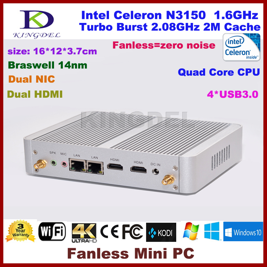 Fanless Intel Celeron N3150 quad core mini pc 2G RAM 32G SSD 2 HDMI 2 Lan