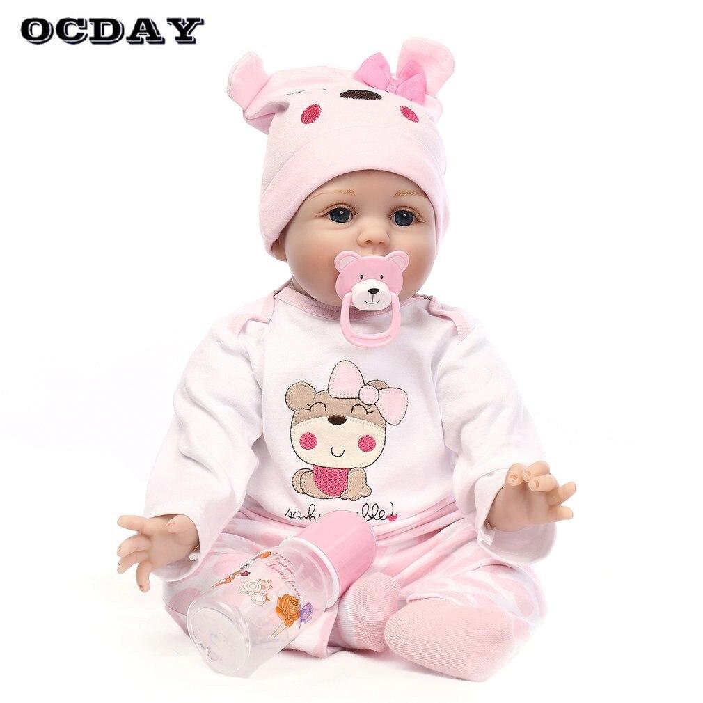 OCDAY 55 см силикона Reborn Baby Doll Дети Playmate Рождественский подарок на Новый год детские мягкие яркие игрушки для девочек букеты кукла милые reborn