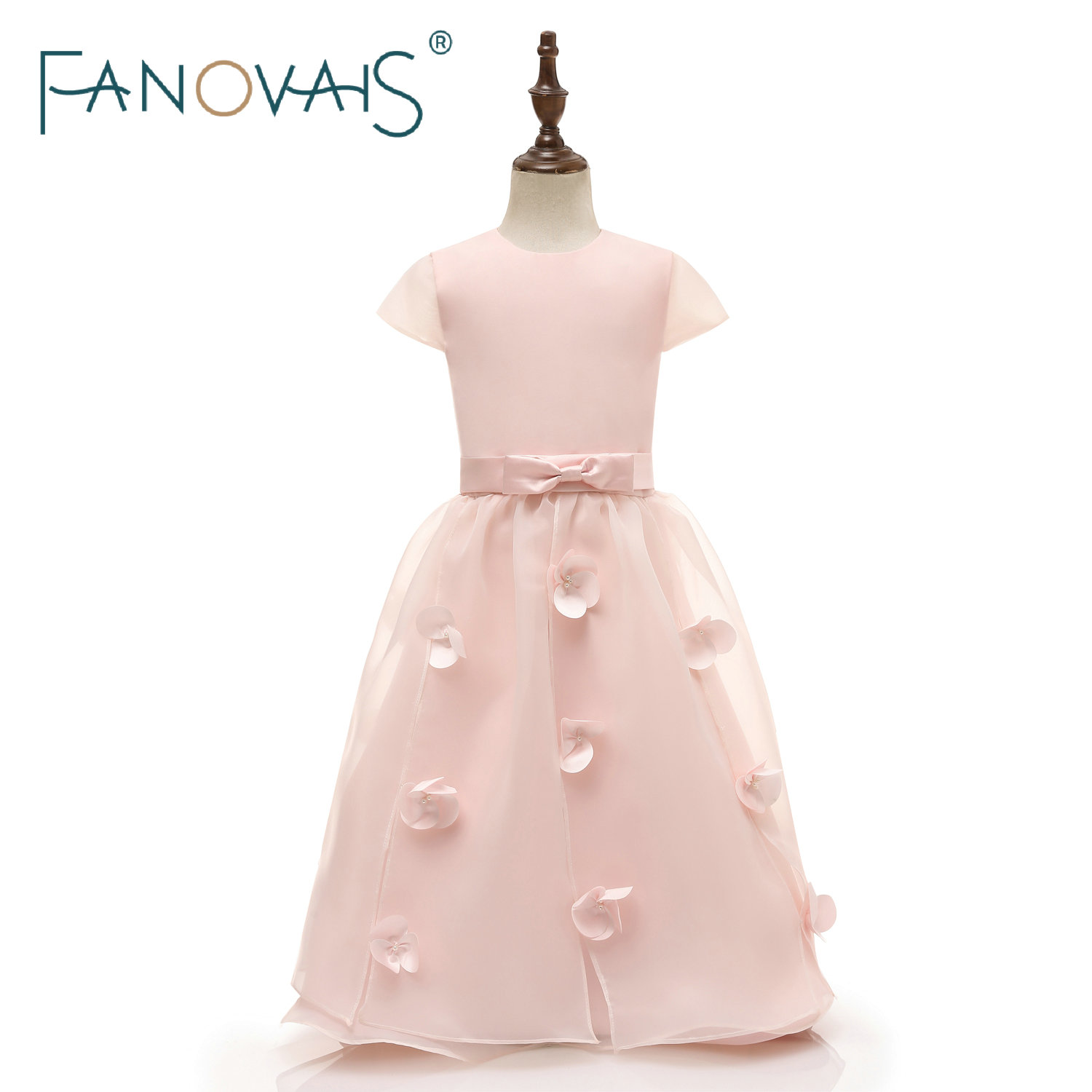 Pink Flower Girl Dresses 2019 Cap Sleeves Organza Simple Party Gowns for Little Girls Princess Dress Formal Dresses for Girl