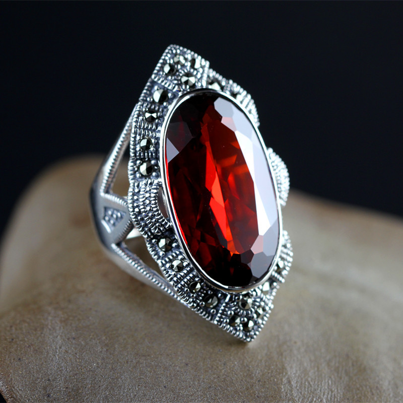 Thai silver inlaid garnet ring finger female retro chalcedony green agate jewelry ruby ring opening