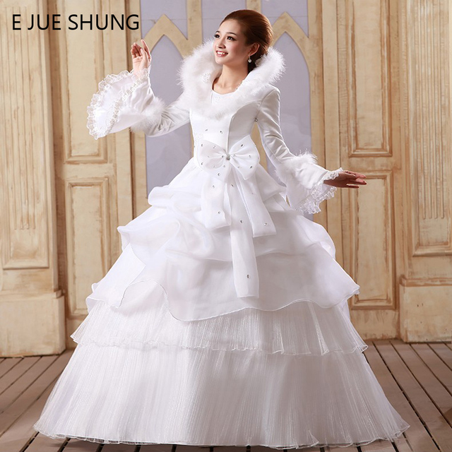 E Jue Shung White Organza Muslim Wedding Dresses 2018 Long Sleeves Winter Gowns Vestido