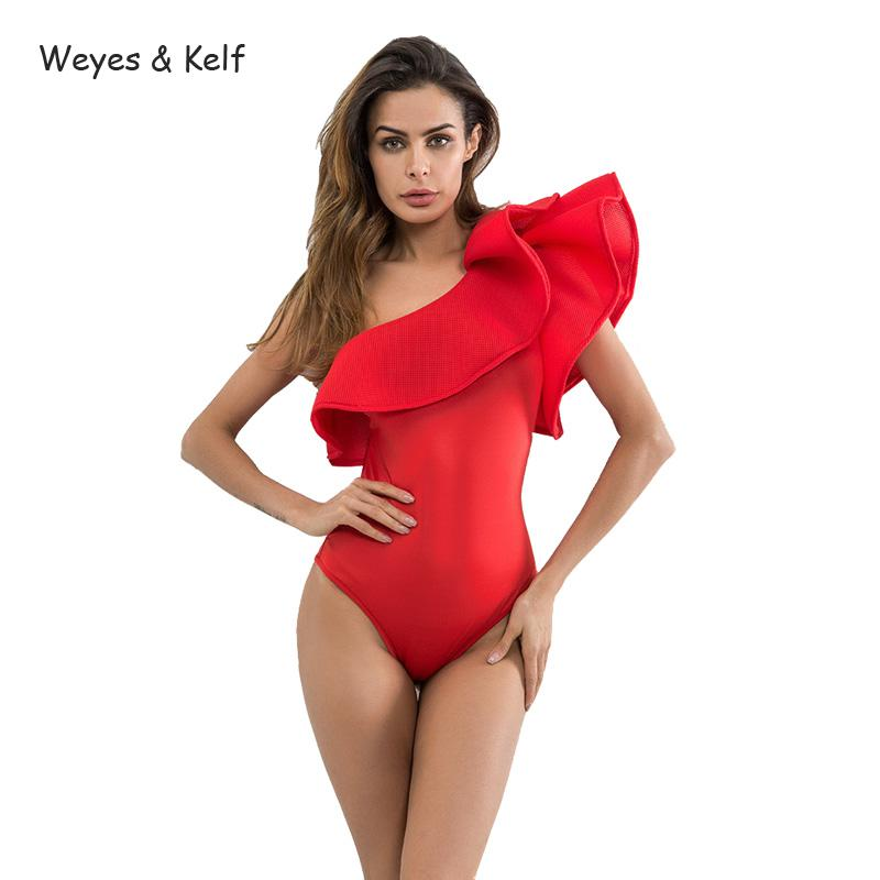 Weyes & Kelf Ruffles Beach Sexy Playsuits women 2018 Skinny Solid Women Sexy Bodysuit Female Shoulder Red Black White