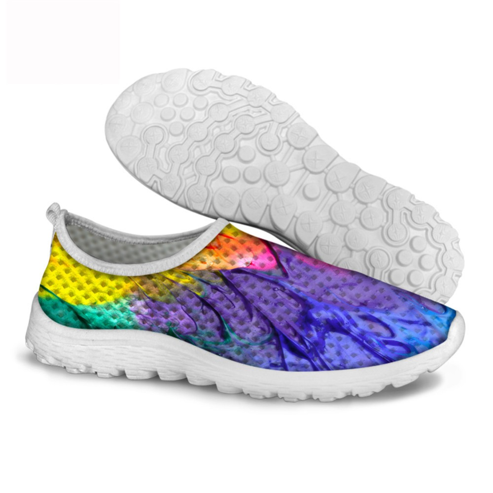 Colorful Running Pattern Sneakers Painting Flats Shoes Mesh Printing YDeE9H2bWI