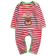 Fashion Baby Girl Boy Clothes Romper Outfit Newborn Kids Christmas Long Sleeve Striped Deer Romper Jumpsuit Baby Autumn Clothes