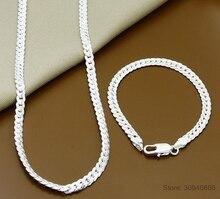 Wholesale 925 Sterling Silver Necklace Bracelet Jewelry Set Cheap Bridal Party Sets Mens 6MM Sideway Fashion Silver Necklace