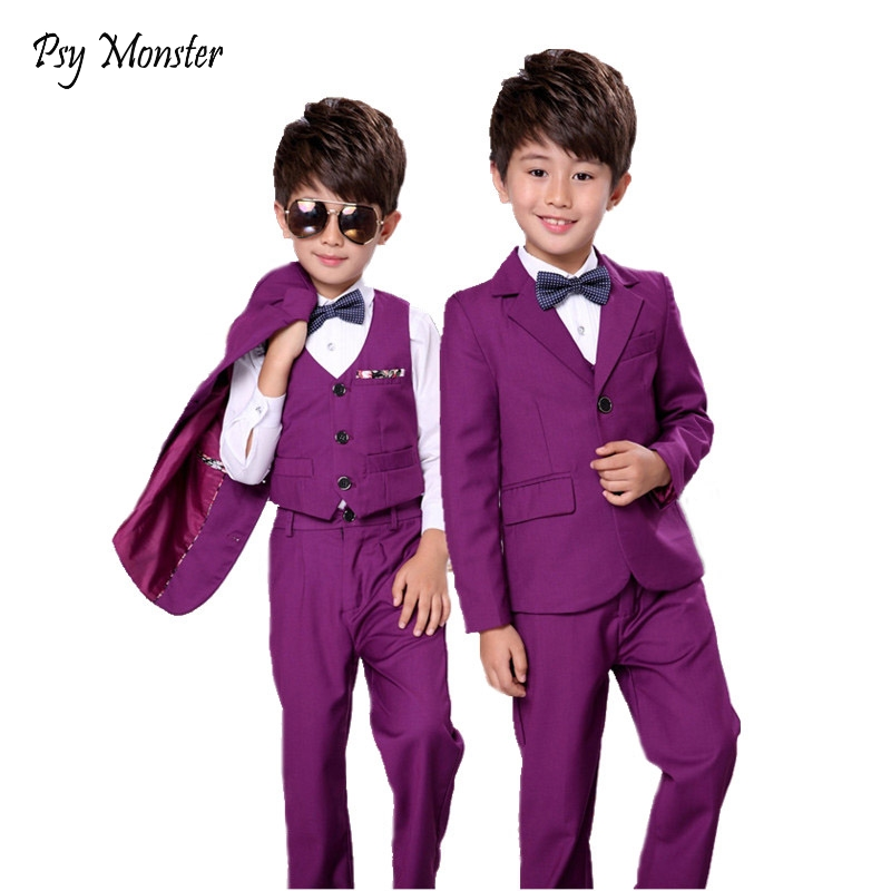 Flower Boys Gentleman Wedding Suit 3pcs Kids Blazer+Vest+Pant Brand Quality Children Formal Birthday Clothing Set F83 boy blazer suit 2018 boys 3pcs plaid formal wedding suit vest coat pant brand children party tuxedos performance wear for boys