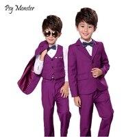 Flower Boys Gentleman Wedding Suit 3pcs Kids Blazer+Vest+Pant Brand Quality Children Formal Birthday Clothing Set F83