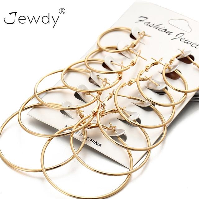 6 Pairs Set Rose Gold Silver Big Circle Hoop Earrings for Women 2019 New Vintage