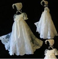 2017 NewWhite Ivory Baptism Gown Lace Applique Beads Christening Dress With Bonnet With Belt