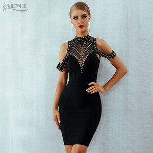 Image 2 - ADYCE 2020 חדש קיץ שחור תחבושת שמלת נשים Vestidos סקסי ללא משענת ואגלי Bodycon מועדון שמלת סלבריטאים ערב המפלגה שמלה