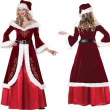 89a319d3b5 Traje de Santa Claus para adultos mujeres rojo Navidad traje invierno  cálido vestido Maxi vestido bar