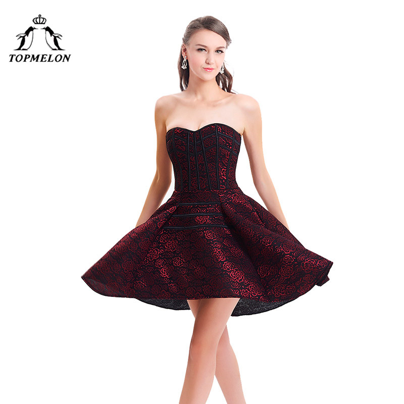 TOPMELON Corset Dress Steampunk Bustier Gothic Corselet Dress Sexy Corset Women Lace Up Floral Flower Party Prom Short Dress