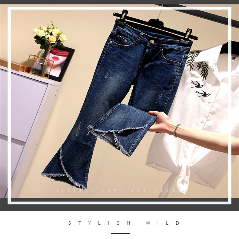 L-4XL Large size New Spring Summer Fashion High Street Women Solid High Waist Long Denim Pants Lady Skinny flare Pants